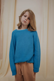 Knit sweater bold blue