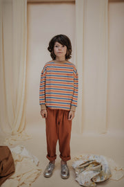 Sweat tee latte marine stripe