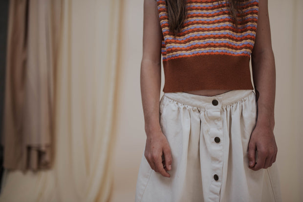 Button down skirt vintage white