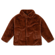 Boxy collar coat warm chestnut