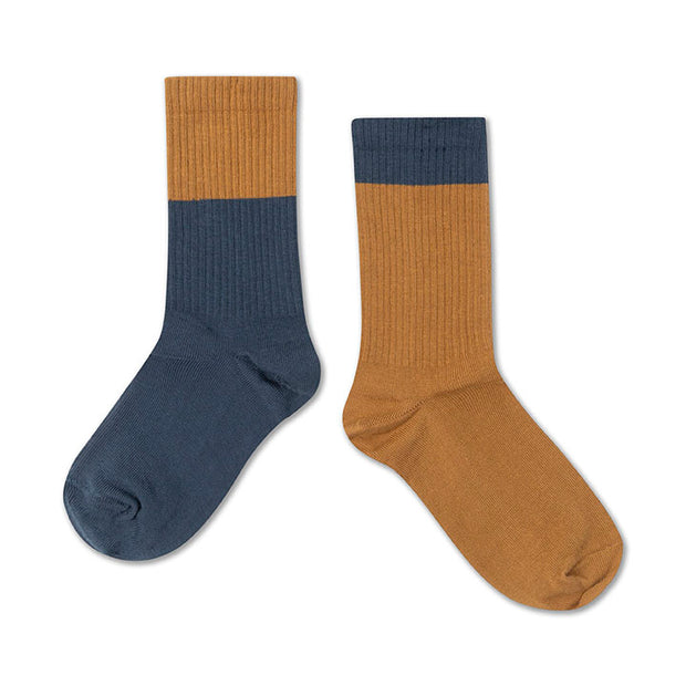Socks dark navy blue golden block