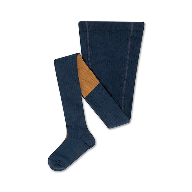 Tights navy blue golden color block