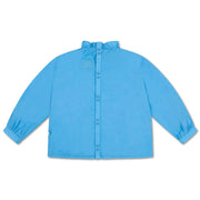 Ruffle blouse bright sky blue