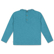 T-shirt with collar dusty storm blue