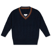 Knit V neck sweater marine blue