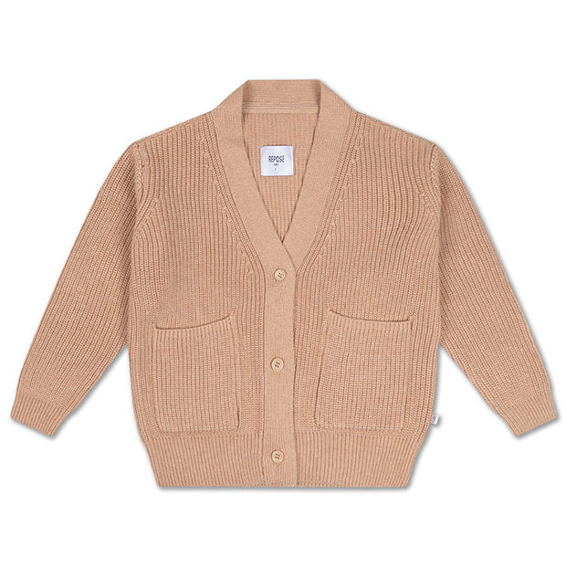Knit grandpa cardigan powder tan