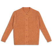 Knit round neck cardigan burnt autumn