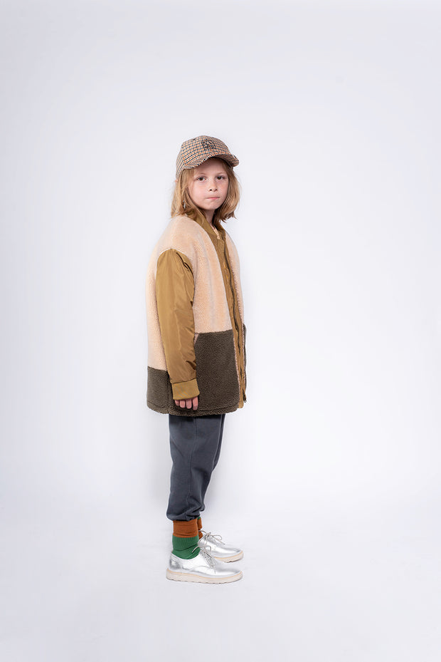 Teddy bomber coat khaki color block