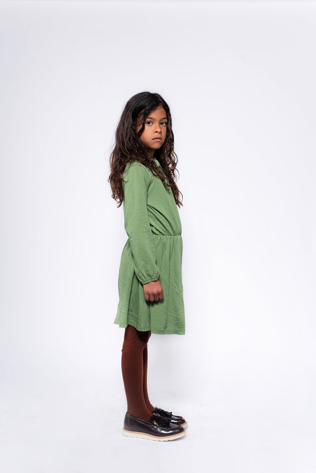 Peter pan dress hunter green