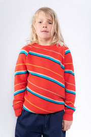 Knit raglan sweater diagonal stripe