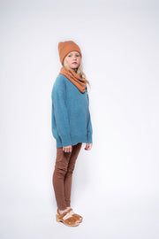 Knit boxy sweater bright sky blue