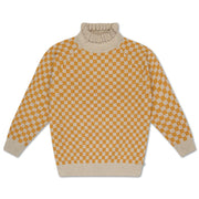 Knit sweater yellow bb check