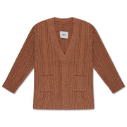Knit cardigan v neck cable rusty marble