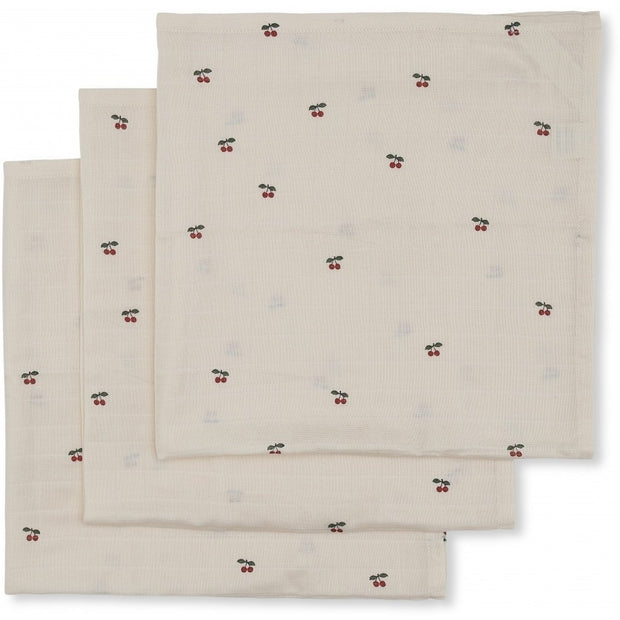 Konges Sløjd 3-pack muslin cloth, cherry