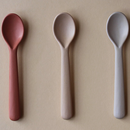 Cink Bamboo toddler spoon 3-pack, Fog/Rye/Brick