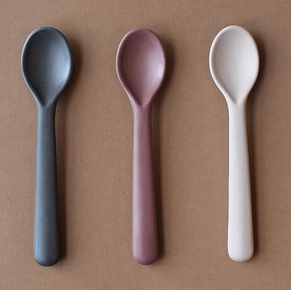 Cink Bamboo toddler spoon 3-pack fog/beet/ocean