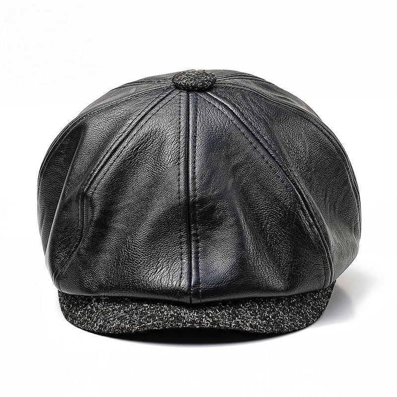 3133890461734 Male Winter Outdoors PU Peaked Cap Men Casual Flat Beret Hats Women Newsboy  Caps Leather Man