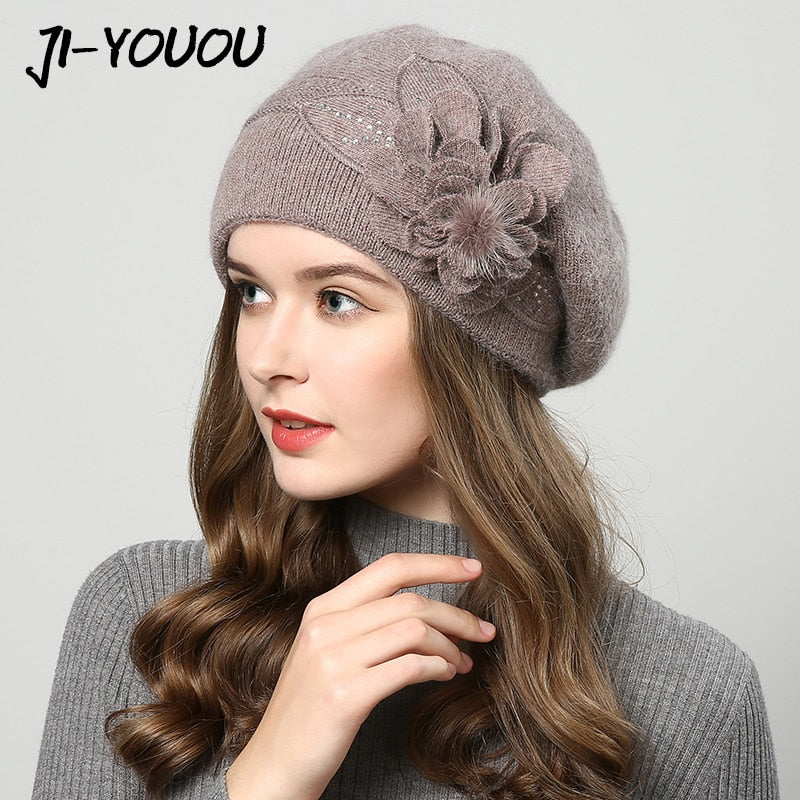 b6f9f06013be56 2017 winter hats for women hat Berets with balaclava Women's cap gorros  rabbit fur hats for