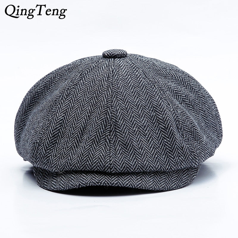 1d5611a1909 Peaky Blinders Men Berets Hat Autumn New Vintage Herringbone Octagon Cap  Women S Casual Pumpkin Hat Gatsby