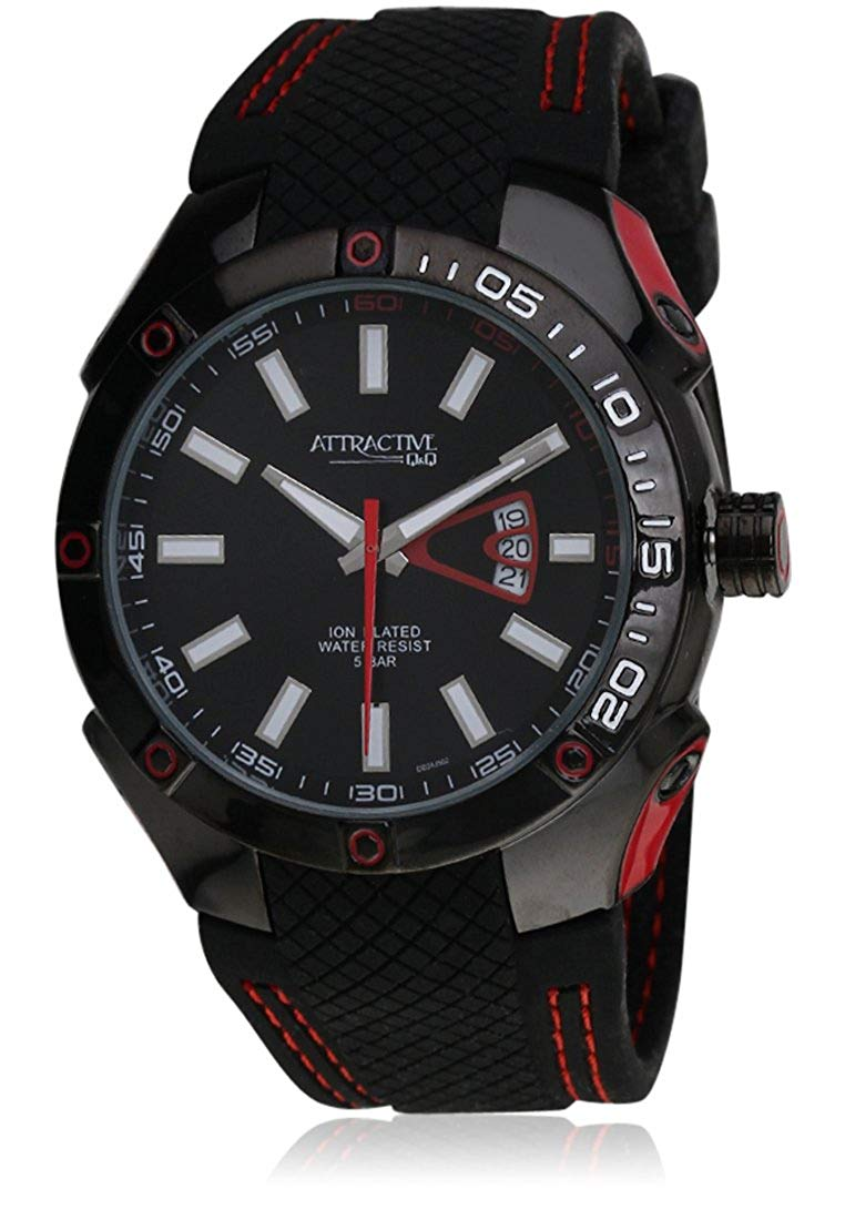 Q&Q Analog Black Dial Men's Watch - DB24J502Y get best offers deals free and coupons online at buythevalue.in