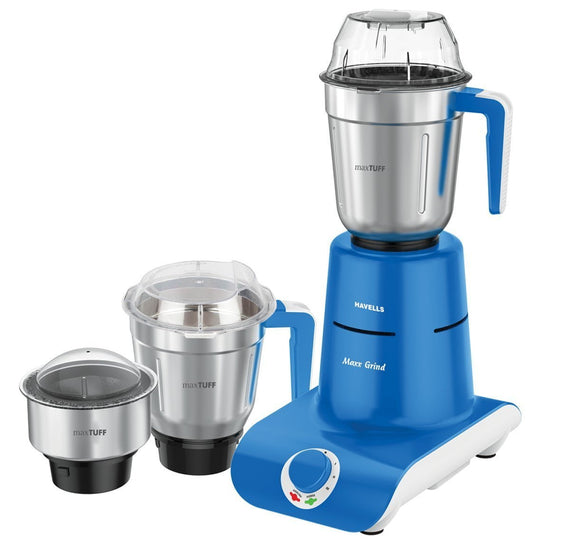 Havells Maxx Grind 750-Watt Mixer Grinder with 3 Jars (Blue) - Buythevalue.in