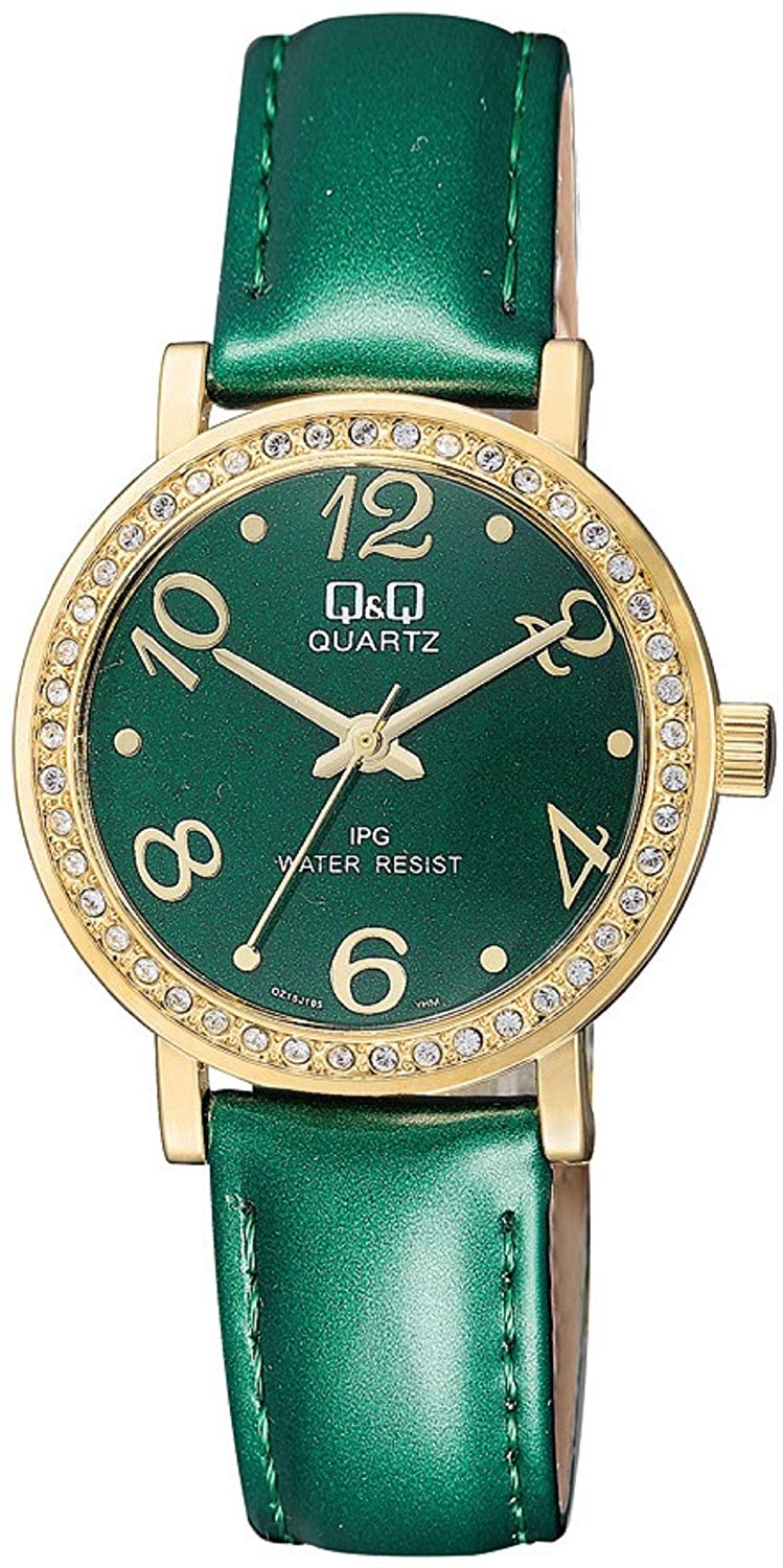 Q&Q QZ15J105Y Analogue Watch Stylish Number and Beautiful Color Watch with Green Dial with Green Strap Watch for Women