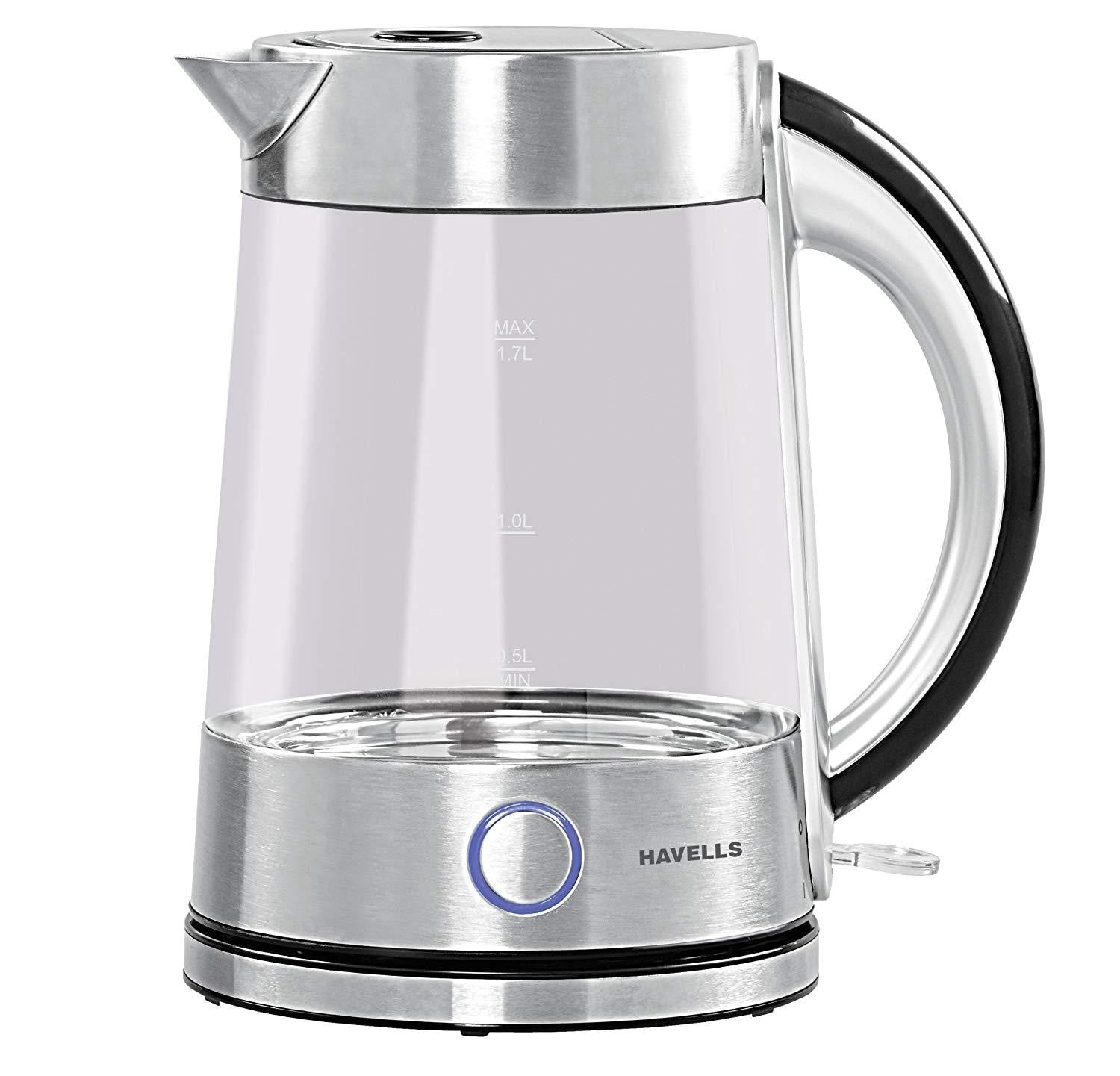 Havells Vetro 1.7L 2200-Watt Stainless Steel Kettle (Glass) - Buythevalue.in