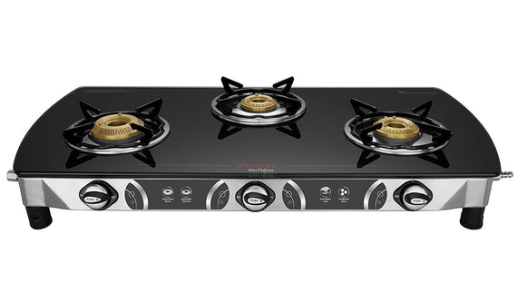 Preethi Blu Flame Blaze Black Glass Top 3-Burner Gas Stove get best offers deals free and coupons online at buythevalue.in