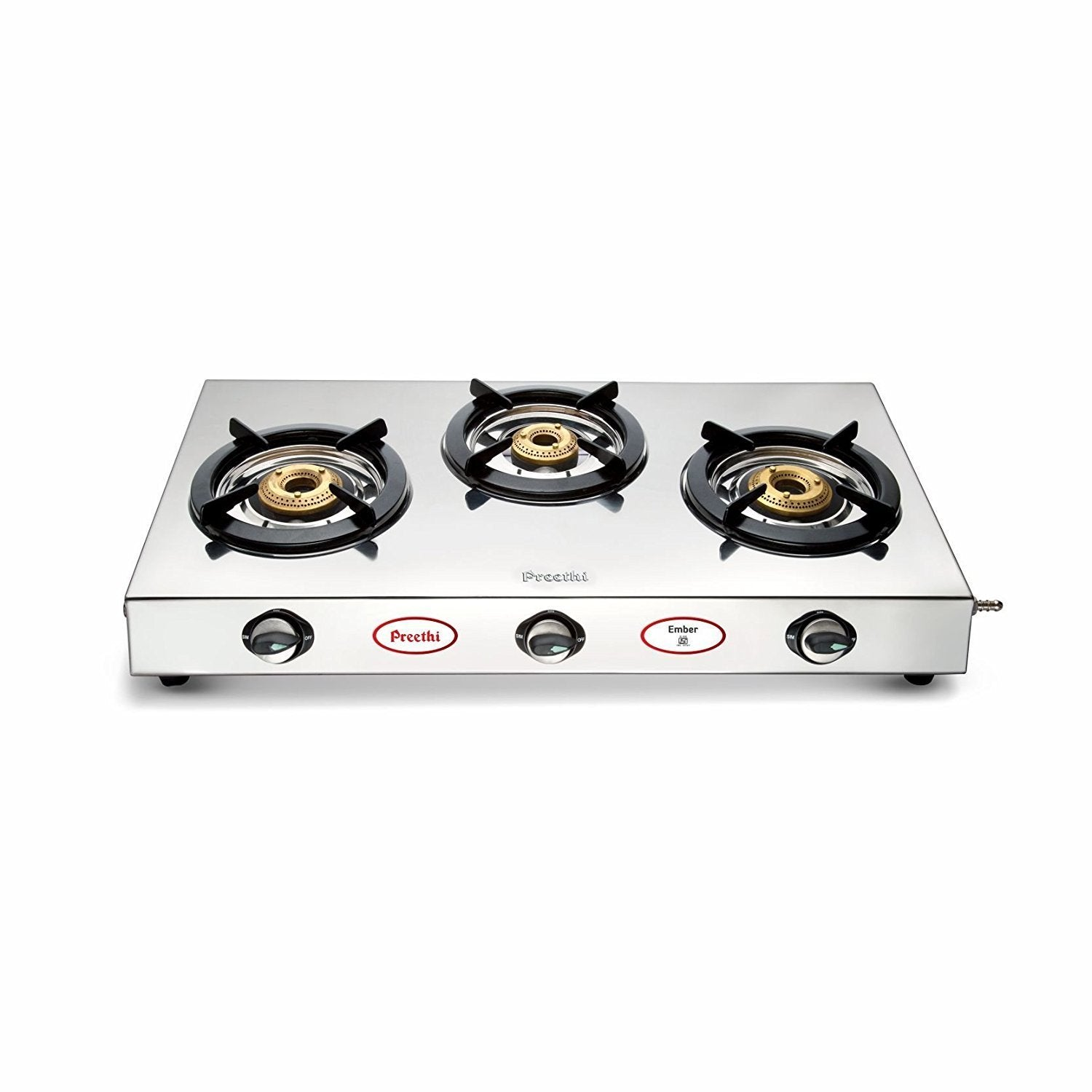 Preethi Ember Stainless Steel 3-Burner Gas Stove get best offers deals free and coupons online at buythevalue.in