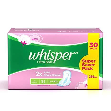 Whisper Sanitary Pads - Ultra Soft XL+ 15 Pads - Buythevalue.in
