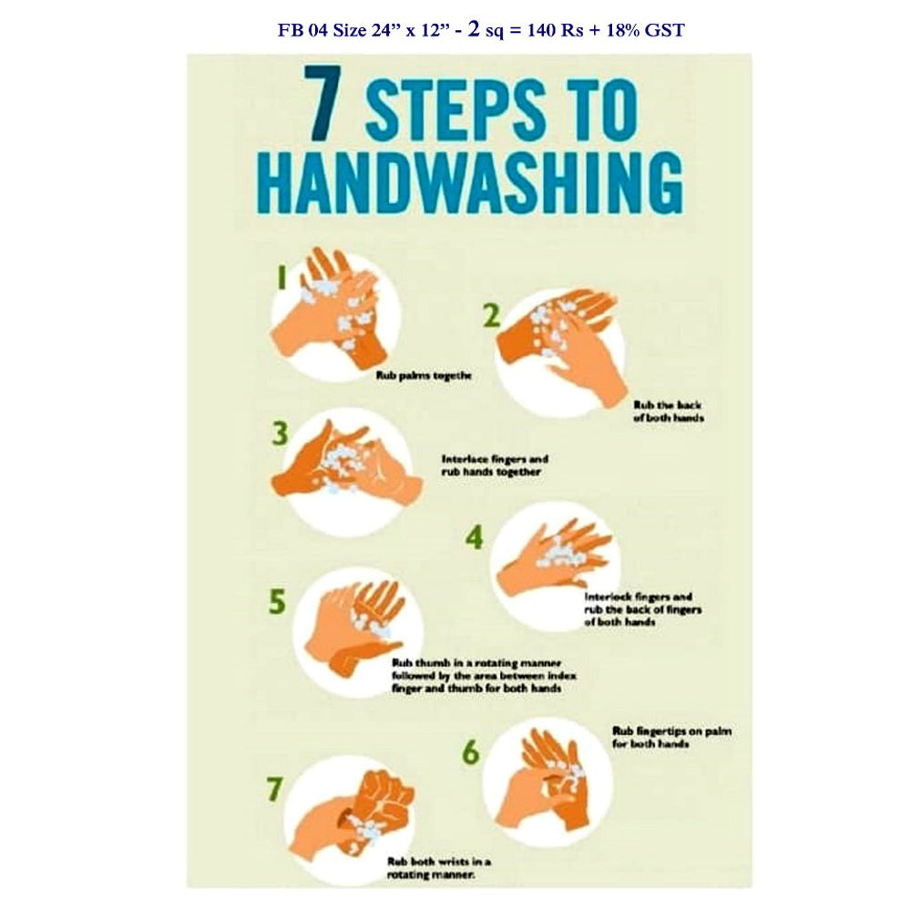 "Covid-19 Banner for Hand Wash, Size 24"" x 12"" - 2 Sq"