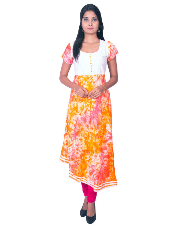 Joshuah's Orange Printed Pure Rayon and Cotton Hakoba Anarkali Kurtiget best offers deals free online at buythevalue.in