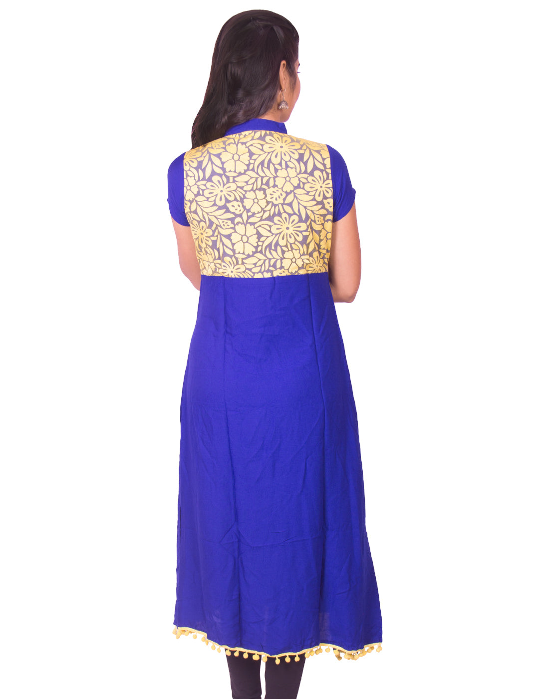 Joshuah's Ink Blue with Yellow Net Zip Open Rayon Anarkali Kurtiget best offers deals free online at buythevalue.in