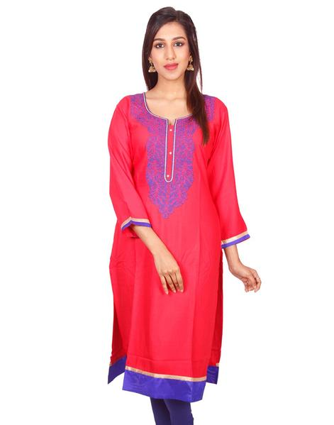 Joshuah's Pink with Ink Blue Embroidded Pure Rayon Straight Cut Kurtiget best offers deals free online at buythevalue.in