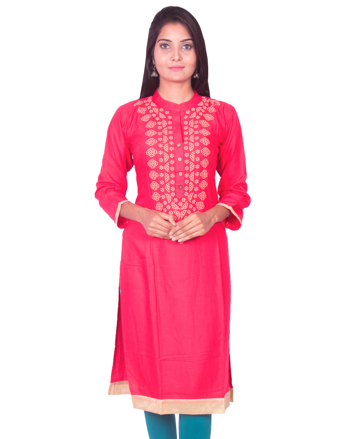 Joshuah's Amaranth Red Pure Rayon Straight Cut Long Sleeves Kurtiget best offers deals free online at buythevalue.in