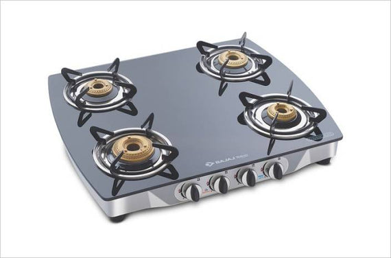 Bajaj CGX 10 Curved Body Stainless Steel, Glass Manual Gas Stove 4 Burnersget best offers deals free and coupons online at buythevalue.in