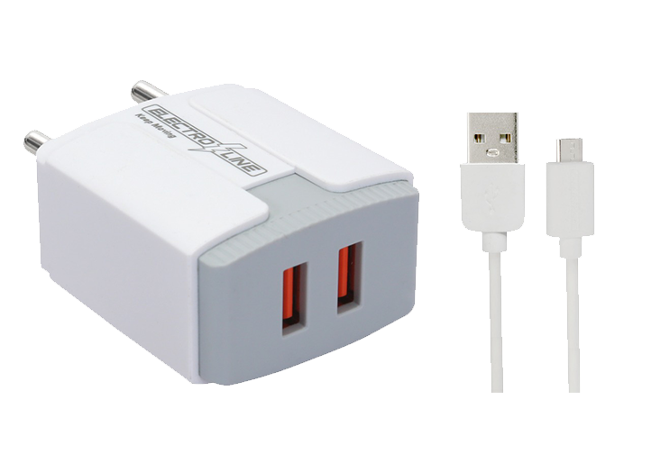Electroline Fast Dual 2.1 Amp USB Charger with Cable (EL-210 - 2U/II)