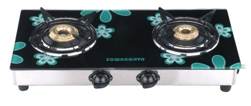 Sowbaghya Compact Green 2 Burner GTSM05 Glass Top Gas Stove get best offers deals free and coupons online at buythevalue.in