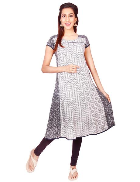 Joshuah's White & Black Flower Printed Rayon Casual Anarkali Kurtiget best offers deals free online at buythevalue.in