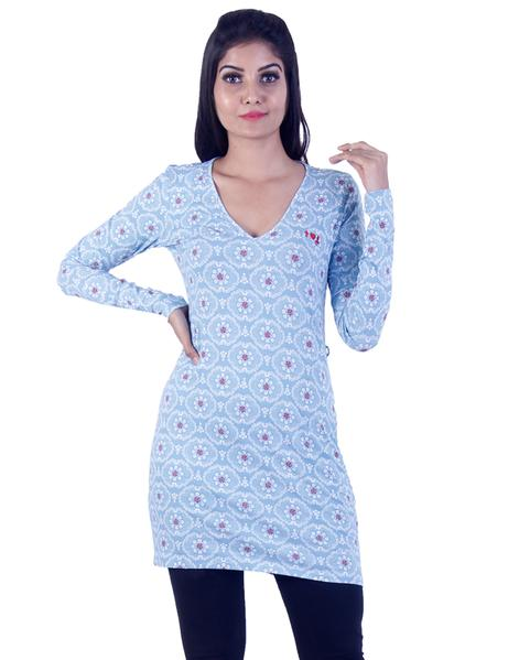 Joshuah's Light Blue Red dotted Long Tunic