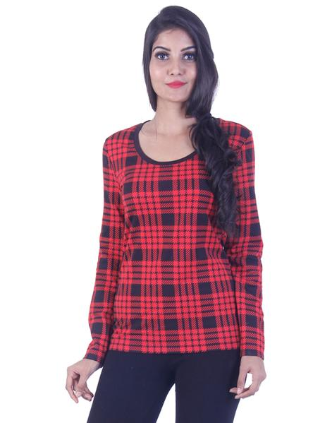 Joshuah's Trendy Red Checkerd Long Tunicget best offers deals free online at buythevalue.in