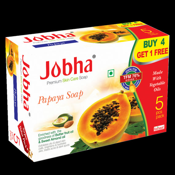 Jobha Papaya Soap Super Value Pack 5 Piece 375 Grams get best offers deals free and coupons online at buythevalue.in