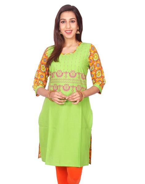 Joshuah's Green Casual Printed Long Sleeves Straight Cut Kurtiget best offers deals free online at buythevalue.in