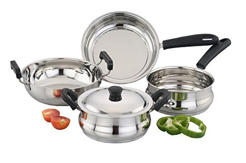 Sowbaghya 5 Piece Ultima Induction Base Stainless Steel Cookware Set get best offers deals free and coupons online at buythevalue.in