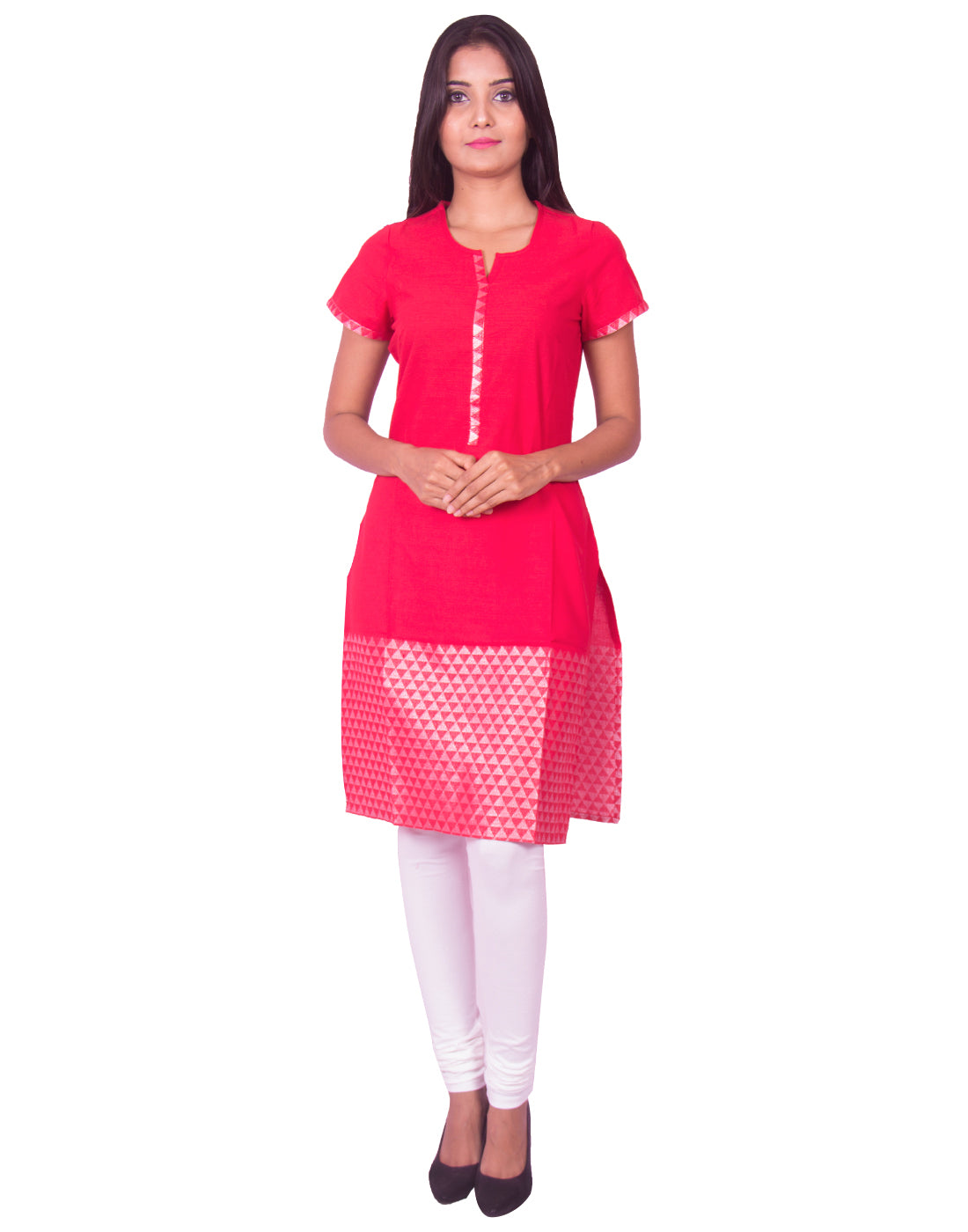 Joshuah's Red with Silver Thread Jaquard Cotton Dobby Kurtiget best offers deals free online at buythevalue.in