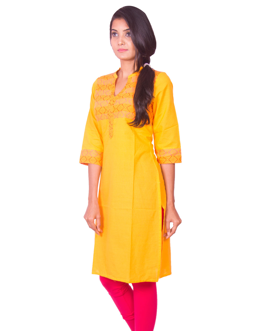 Joshuah's Golden Yellow South Cotton Dobby Long Sleeves Kurtiget best offers deals free online at buythevalue.in