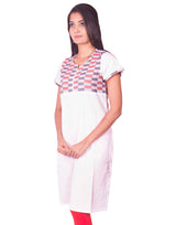 Joshuah's White Cotton Dobby Kurtiget best offers deals free online at buythevalue.in