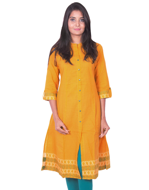 Joshuah's Yellow Cotton Dobby Long Sleeves Princess Cut Kurtiget best offers deals free online at buythevalue.in