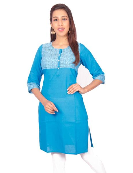 Joshuah's Rama Blue Cotton Dobby Straight Cut Kurti