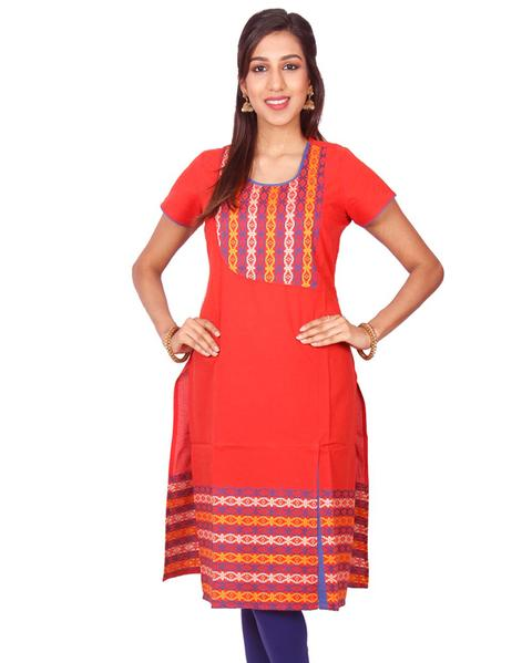 Joshuah's Fiery Orange Cotton Dobby Straight Cut Kurti